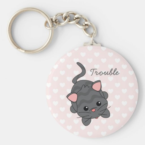 Begging Kitty with Hearts Basic Round Button Keychain