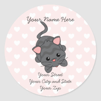 Begging Kitty  with Hearts Classic Round Sticker