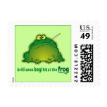 Begin At The Frog Funny Orchestra Joke Postage Stamp