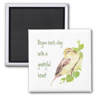 Begin Each Day Grateful Heart Motivational Sparrow Refrigerator Magnet
