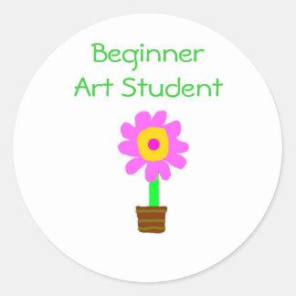 """Beginner Art Student"" - Pink/Yellow Flower [a] Classic Round Sticker"
