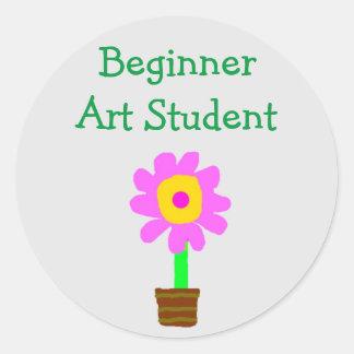 """Beginner Art Student"" - Pink/Yellow Flower [b] Classic Round Sticker"