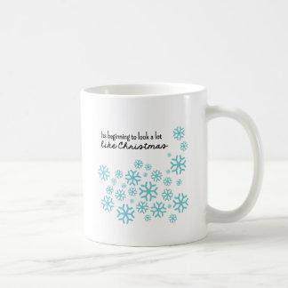 Beginning to Look a Lot Like Christmas   Blue Classic White Coffee Mug