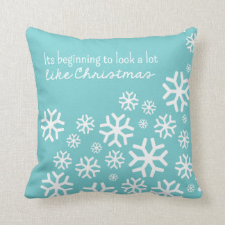 Beginning to Look a Lot Like Christmas  Blue/White Pillow