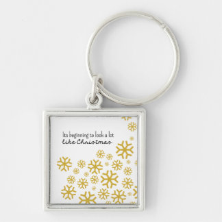 Beginning to Look a Lot like Christmas | Gold Keychain