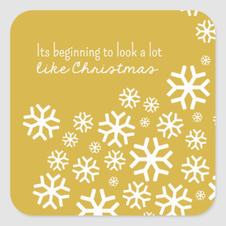Beginning to Look a Lot like Christmas | Gold Square Sticker