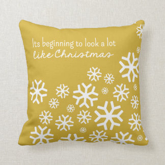 Beginning to Look a Lot Like Christmas  Gold/White Pillows