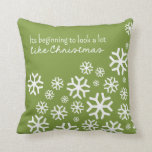 Beginning to Look a Lot Like Christmas | Green Throw Pillows