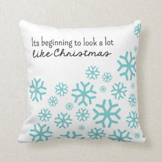 Beginning to Look a Lot Like Christmas   White/Blu Pillow