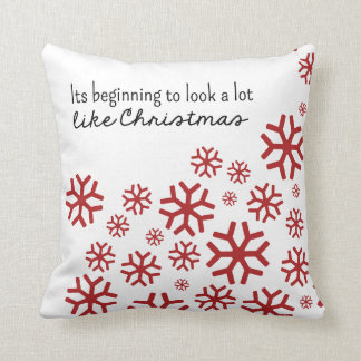 Beginning to Look a Lot Like Christmas   White/Red Throw Pillows