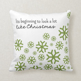 Beginning to Look a Lot Like Christmas   Wht/Green Pillows