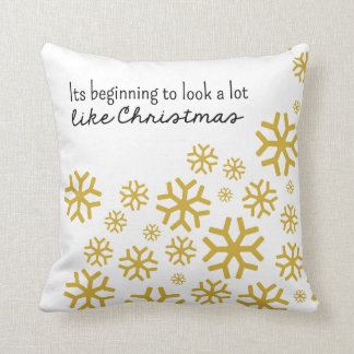 Beginning to Look Like Christmas   White/Gold Throw Pillows