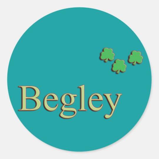 Begley Family Name Classic Round Sticker