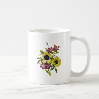 Begonia and Purple Periwinkles Redoute Bouquet Coffee Mug
