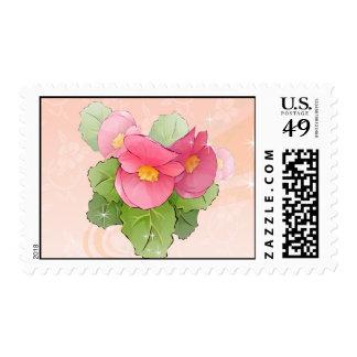 Begonia Flowers Postage Stamp