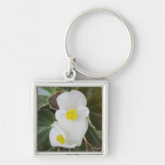 Begonia Garden Flower White Keychain
