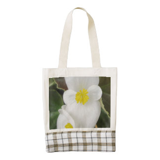 Begonia Garden Flower White Zazzle HEART Tote Bag