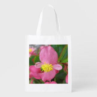 Begonia Pink Flower Reusable Grocery Bag