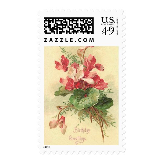 Begonia Vintage Birthday Greetings Postage