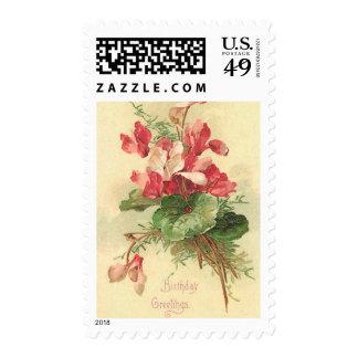 Begonia Vintage Birthday Greetings Postage Stamp