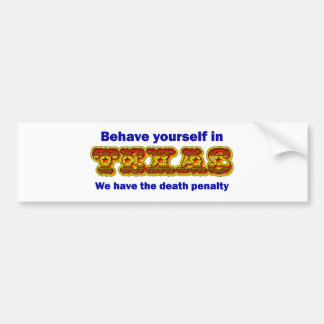 Behave yourself in Texas Car Bumper Sticker