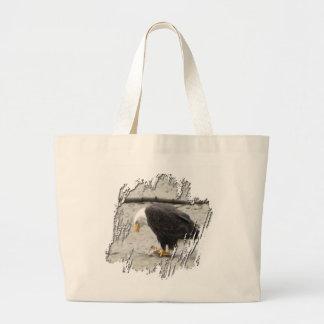 BEHF Bald Eagle Hoarding Fish Large Tote Bag