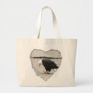 BEHF Eagle calvo que amontona pescados Bolsa Tela Grande