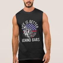 Behind Bars Funny Motorcycle US Flag Sleeveless Shirt