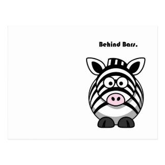 Behind Bars Zebra Cartoon Postcard