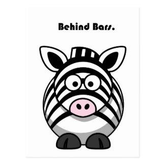 Behind Bars Zebra Cartoon Postcards