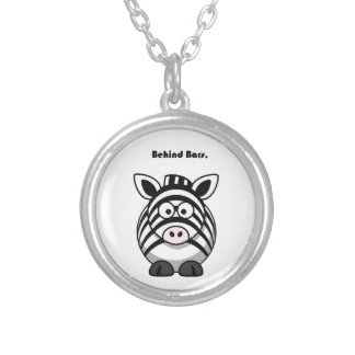 Behind Bars Zebra Cartoon Silver Plated Necklace