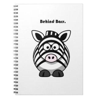 Behind Bars Zebra Cartoon Spiral Notebook