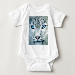 Behind Blue Eyes - Snow Leopard Baby Bodysuit