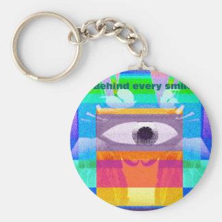 Behind every smile basic round button keychain