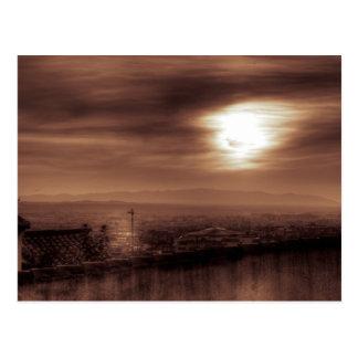 Behind schedule foggy postcard