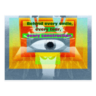 Behind smile every tear every construction postcard