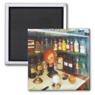 Behind the Counter at the Drugstore 2 Inch Square Magnet