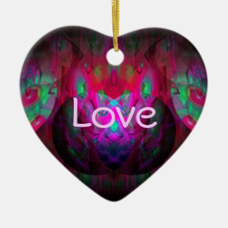 Behind the Eyes Brilliant Color Abstract Double-Sided Heart Ceramic Christmas Ornament