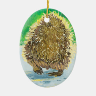 Behind the Hedge Hedgehog Double-Sided Oval Ceramic Christmas Ornament