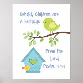 Behold a los niños son una herencia del señor póster
