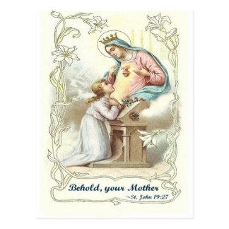 """""""Behold los artículos bendecidos del Virgen María Tarjetas Postales"""