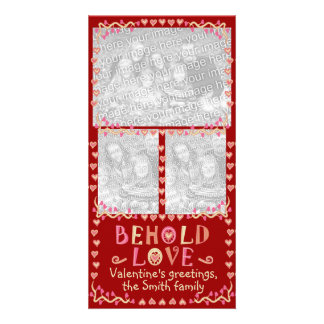 Behold Love Valentine's Three Photo Frame Collage Card