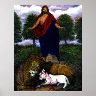 ¡Behold! ¡Vengo rápidamente! Jesús, león y cordero Póster