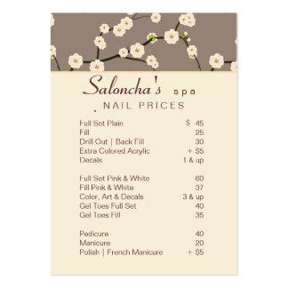 Beige 2 de la flor de cerezo del balneario de la t tarjeta de visita
