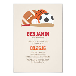Beige All Star Sports Birthday Party Card