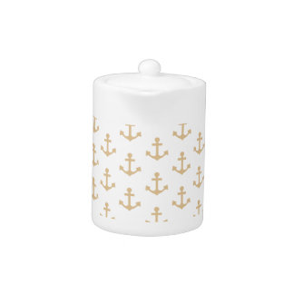 Beige Anchor Pattern Nautical Sailor Teapot