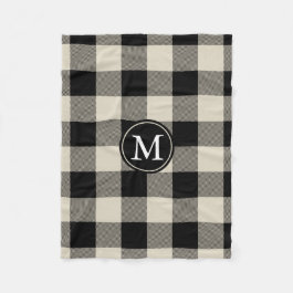 Beige and Black Buffalo Check Monogram Fleece Blanket