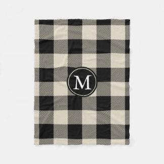 Beige and Black Buffalo Check Monogram Fleece Blanket