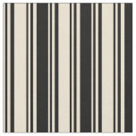 [ Thumbnail: Beige and Black Colored Lined/Striped Pattern Fabric ]