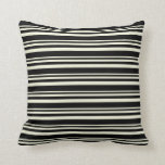 [ Thumbnail: Beige and Black Colored Lines Pattern Throw Pillow ]